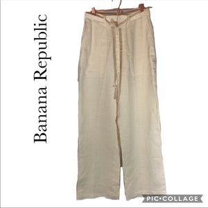 Banana Republic cream linen wide leg pants 8